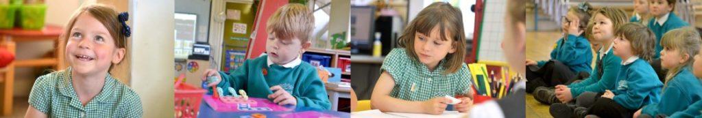 Montage of children at school.