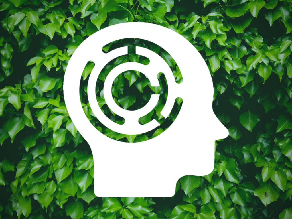 Audio Adventure Mental Health Experience Logo over a background of green leaves