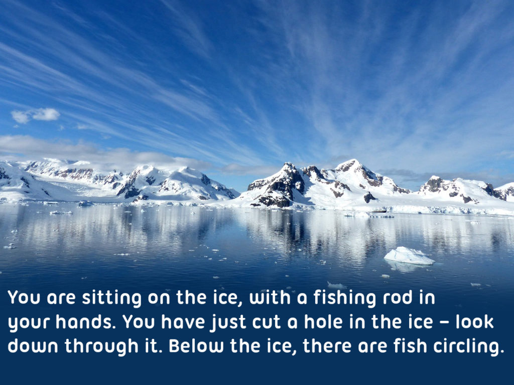 "View of the arctic, ""You are sitting on the ice, with a fishing rod in your hands. You have just cut a hole in the ice – look down through it. Hold out your fishing line very still. Below the ice, there are fish circling. Imagine the fish swimming up to the bait and then... The line is twitching! Quickly pull the rod upwards and reel it in! You've got one!"""