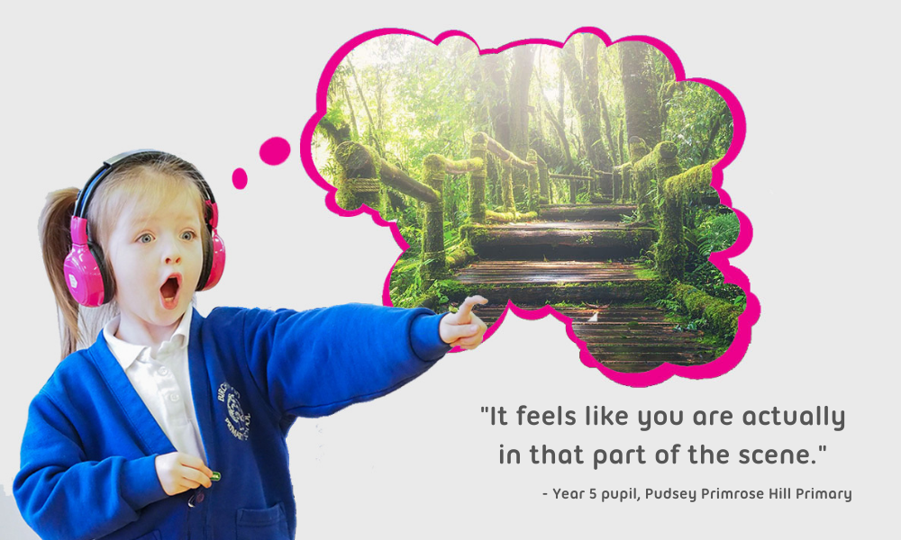 child taking part in an experience with quote outlined