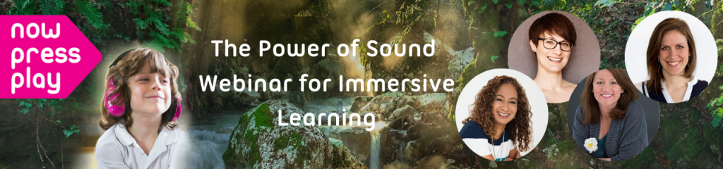 background of a rainforest with a child with pink headphones gazing at four female speakers photos